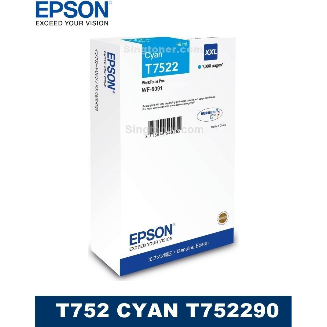 Buy Sell Cheapest Epson Ink Cyan Best Quality Product Deals Yellow C13t03y400 For L6170 Original T752 Cartridge Workforce Pro Wf 6091 C13t752290 T752290