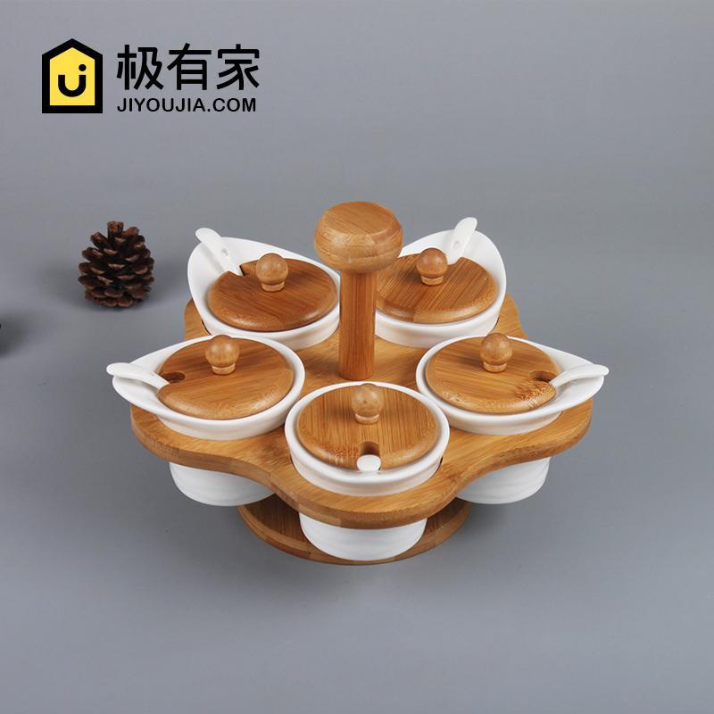 Japanese Style Ceramic Rotating Seasoning Containers Five Pieces Set Condiment Bottle Kitchen Supplies Seasoning Box Salt Shaker Sugar Jar Set