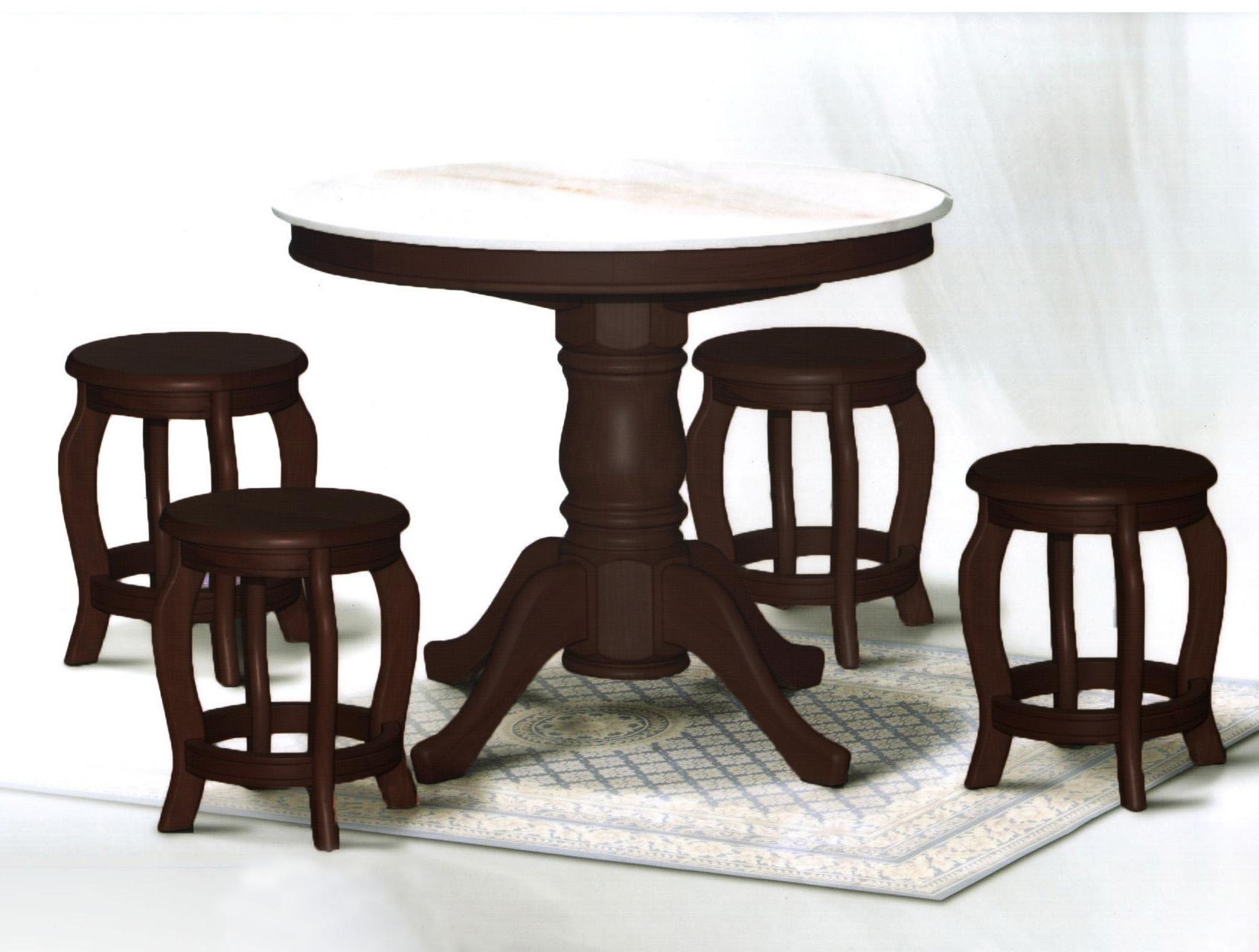 [A-STAR]  (1+4) Round Marble Table and Chair stool set