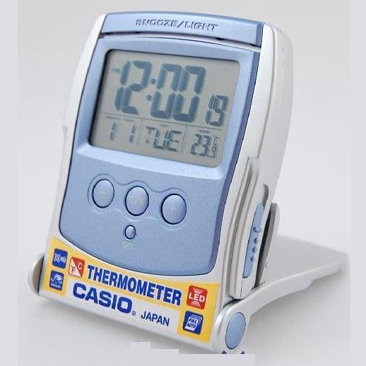CASIO TRAVEL CLOCK / DESK CLOCK THERMOMETER LED LIGHT MODEL# PQ-65-2DF