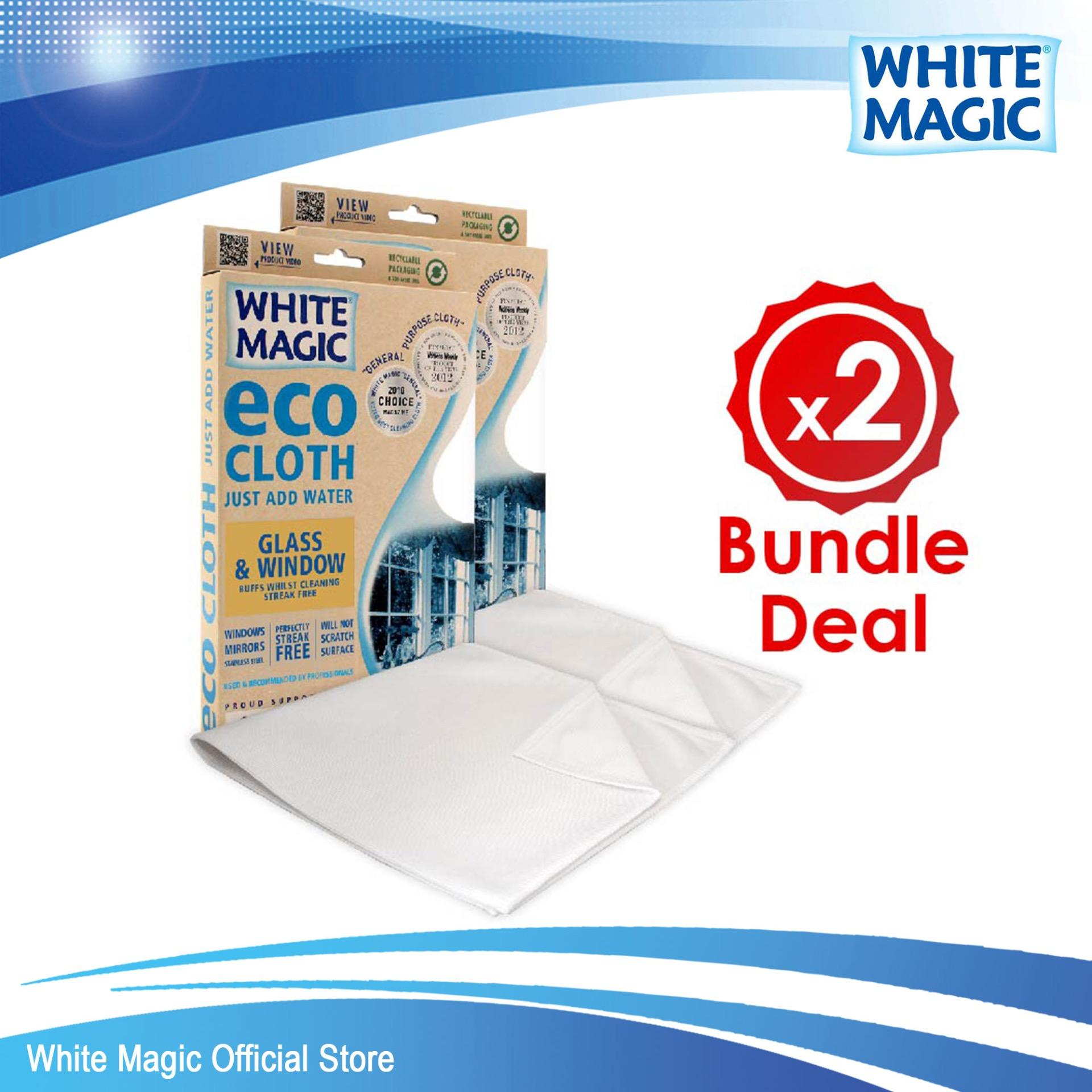 Promo Bundle Deal White Magic Microfibre Glass Window Eco Cloth X 2