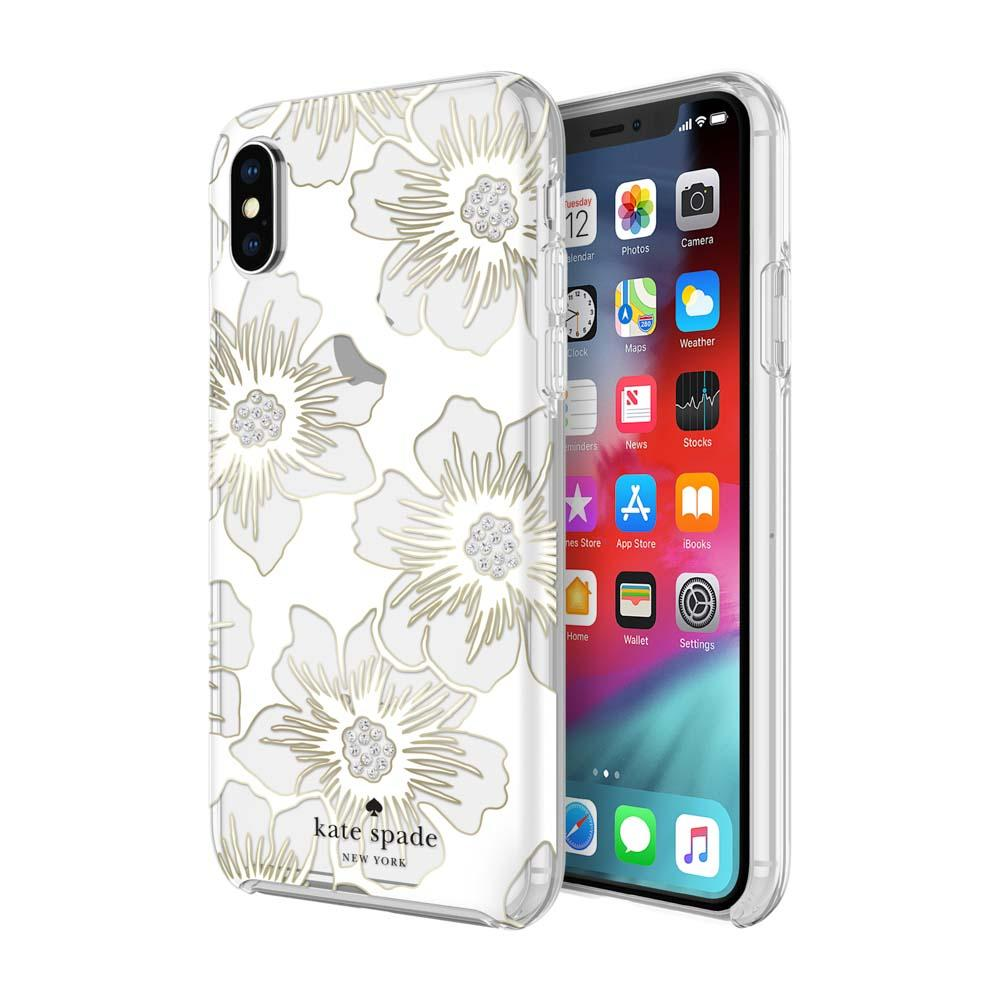 new style a06b8 7c139 Kate Spade New York Hardshell Reverse Hollyhock Floral Case For iPhone XS/X  - Clear/Gems