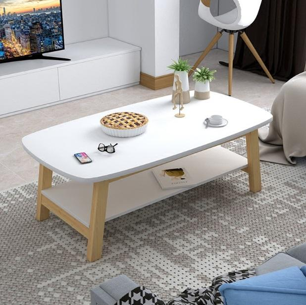 Nordic Solid Wood Coffee Table (White)