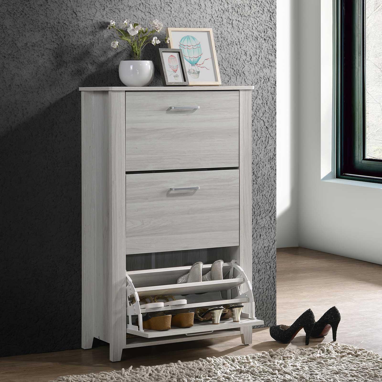 Shoe Cabinet w/ 3 Compartment in White Oak Rack Storage Entryway Organizer ⭐ E-LIVING Furniture