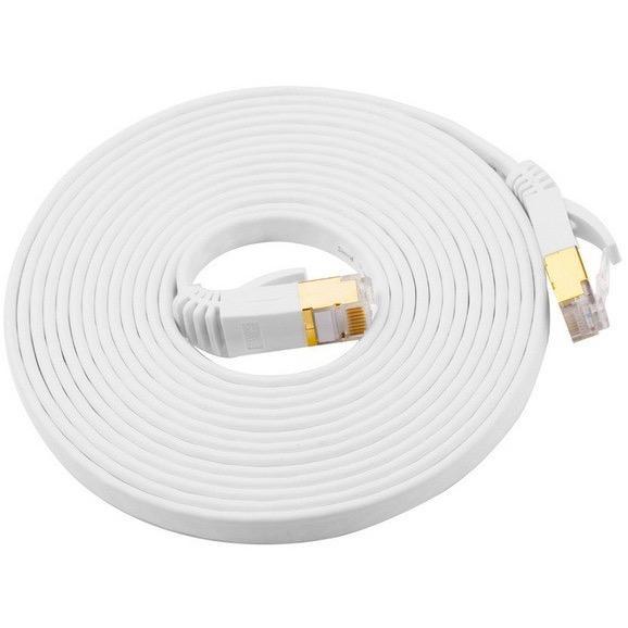 10 Gigabit Cat 7 Flat Ethernet Patch Network Lan Cable 600Mhz Rj45 Modem Router 15 Meter Cheap