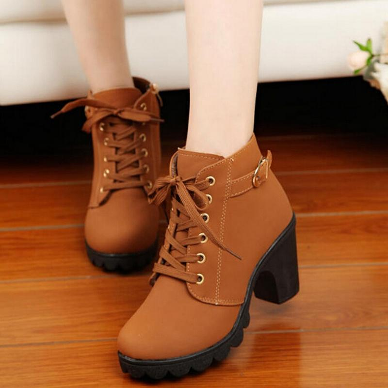 Five Star Store Women Chunky Block High Heel Ankle Boots Winter Nubuck Buckle Martin Boot Shoes By Five Star Store.