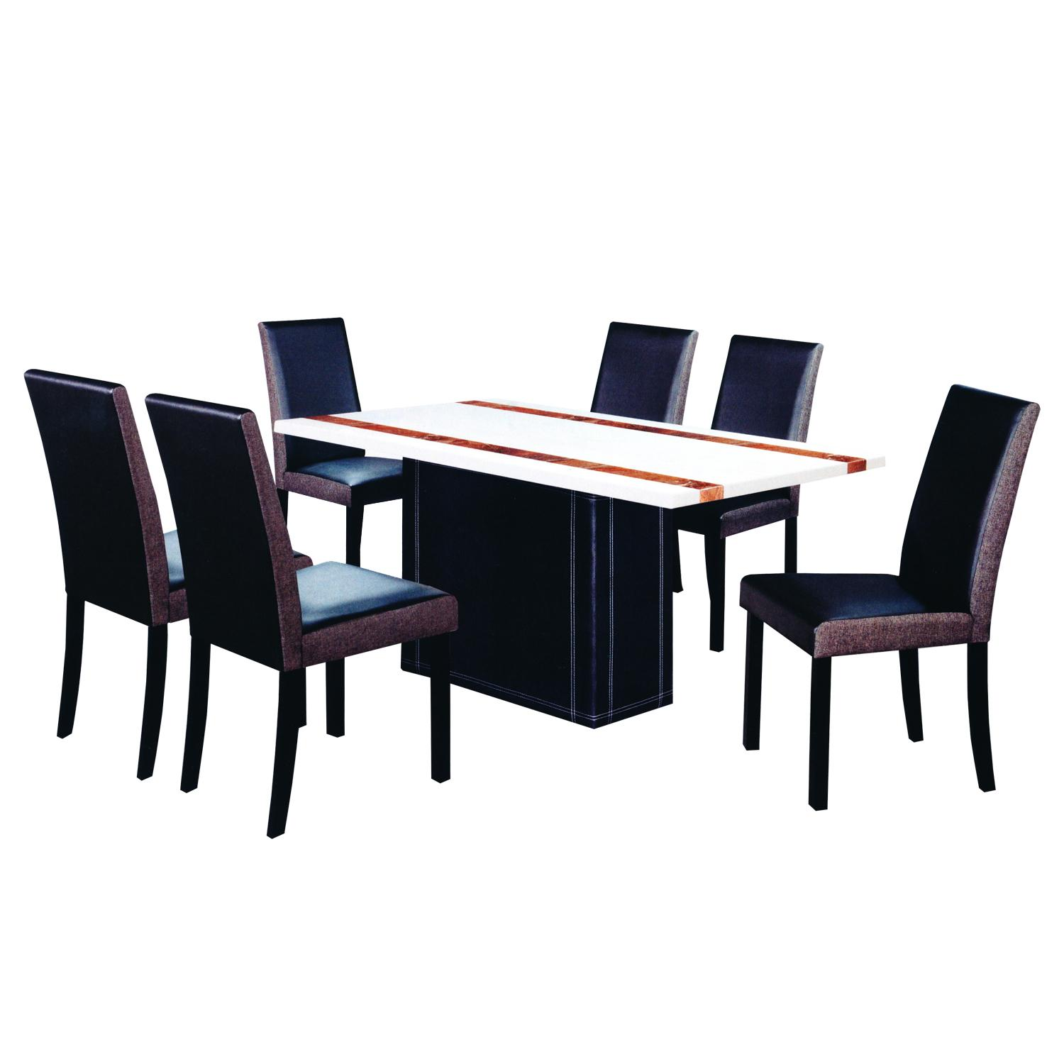 LIVING MALL_Liza Dining Set 1+6_FREE DELIVERY