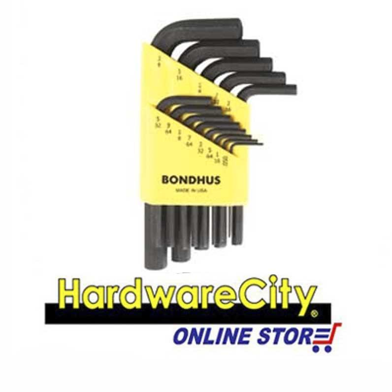 Bondhus HLX13S (Inches), 13PC Hex Key L-Wrench Set Black (Short Arm) [HLX13S]