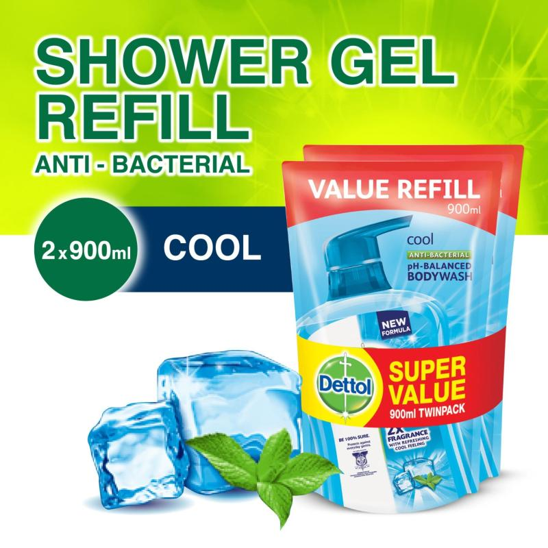 Buy 2x Dettol Anti-Bacterial Body Wash Cool Refill 900G Singapore