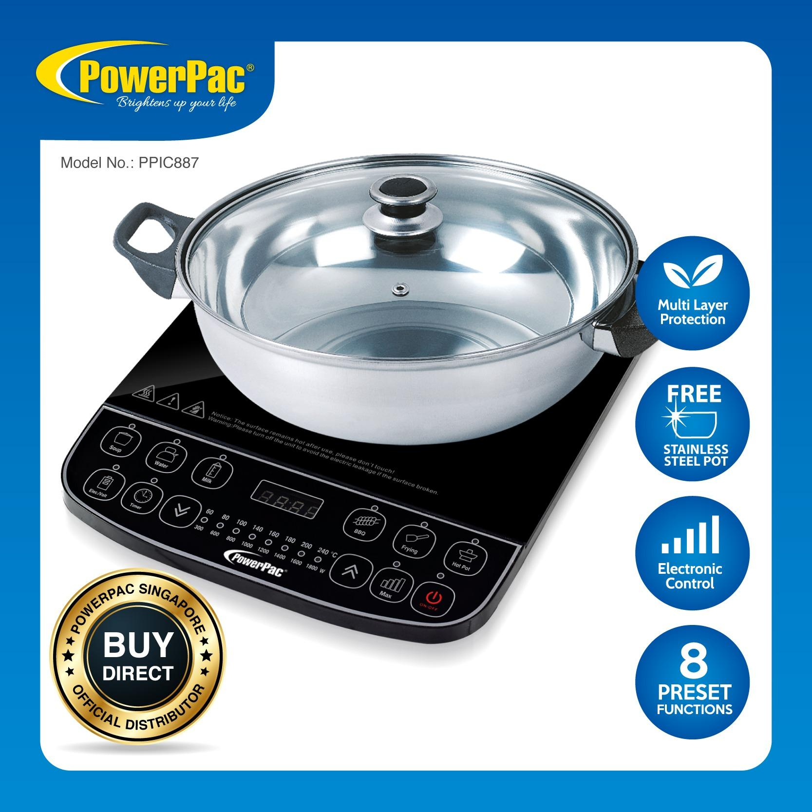 Low Cost Powerpac Induction Cooker With Stainless Steel Pot Ppic887