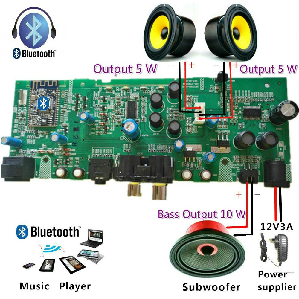 2.1 Channel Digital Tube Power Bass Bluetooth Amplifier Audio Plate Amplifier Tpa3110 Chips Class Hifi Amplifier Dc12v 1~5a - Diy By Angel Store.