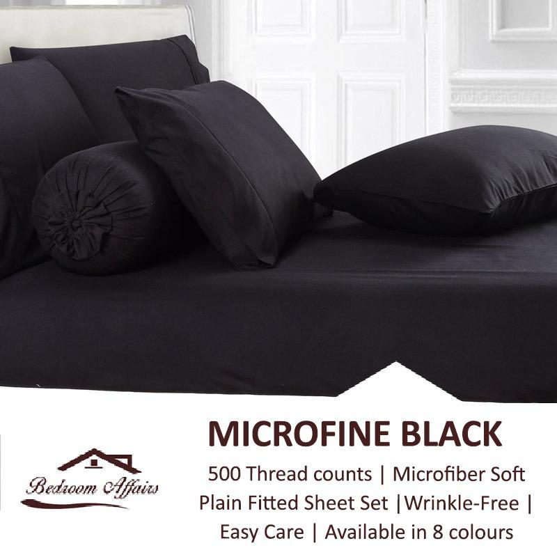 Cheapest Microfine Black Fitted Sheet Set Online