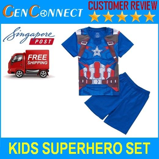 Kids Short Sleeve Shirt And Pants Captain America Pyjamas Sleepwear Set For Children By Genconnect.