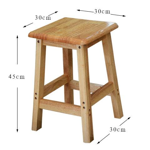 KAILONG All Oak Square Stool Household Solid Wood Restaurant Square Stool Students High Bench Square Teapoy Table Stool Logs High