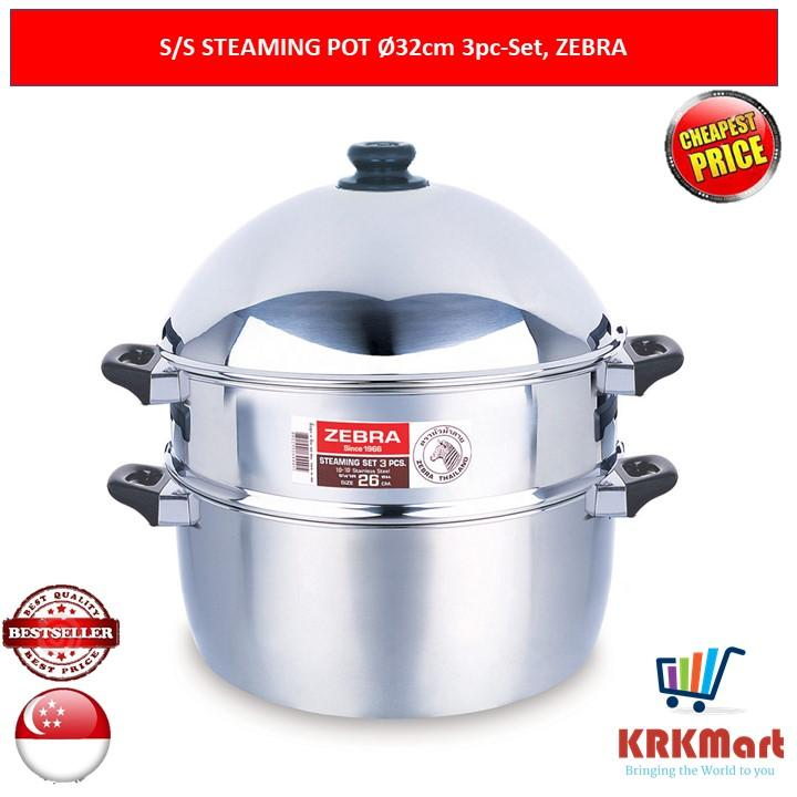 Zebra Stainless Steel Steaming Pot 3 Pieces Set 32cm By Krkmart.