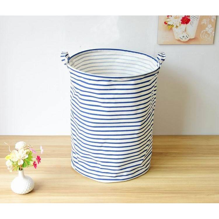 Deals For Waterproof Linen Foldable Clothes Laundry Basket Blue Striped