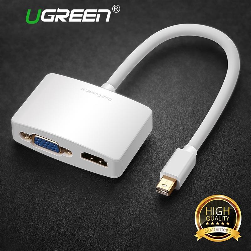 UGREEN 2 in 1 Thunderbolt 1/2 Mini DP to HDMI VGA Cable Adapter Mini