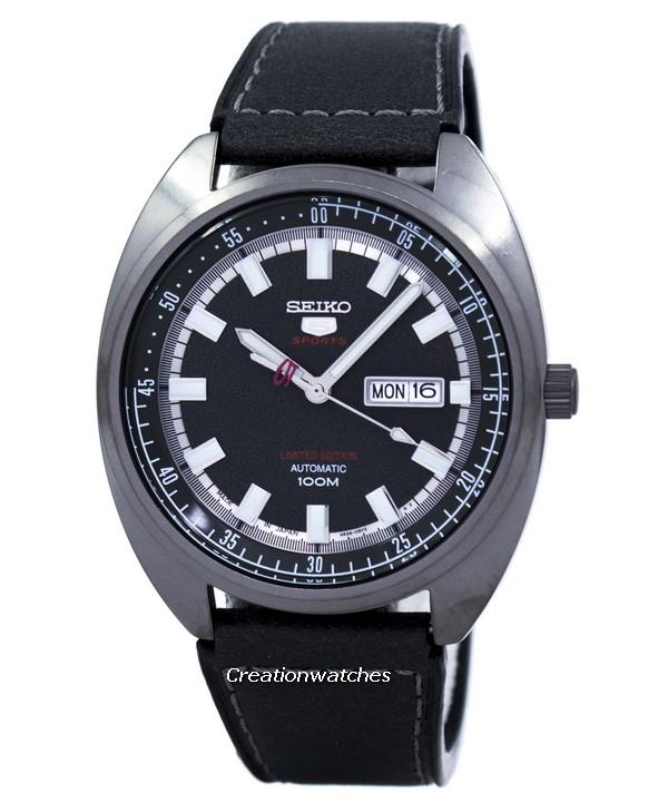 Seiko 5 Sports Automatic Limited Edition Japan Made Men's Black Leather Strap Watch SRPB73J1
