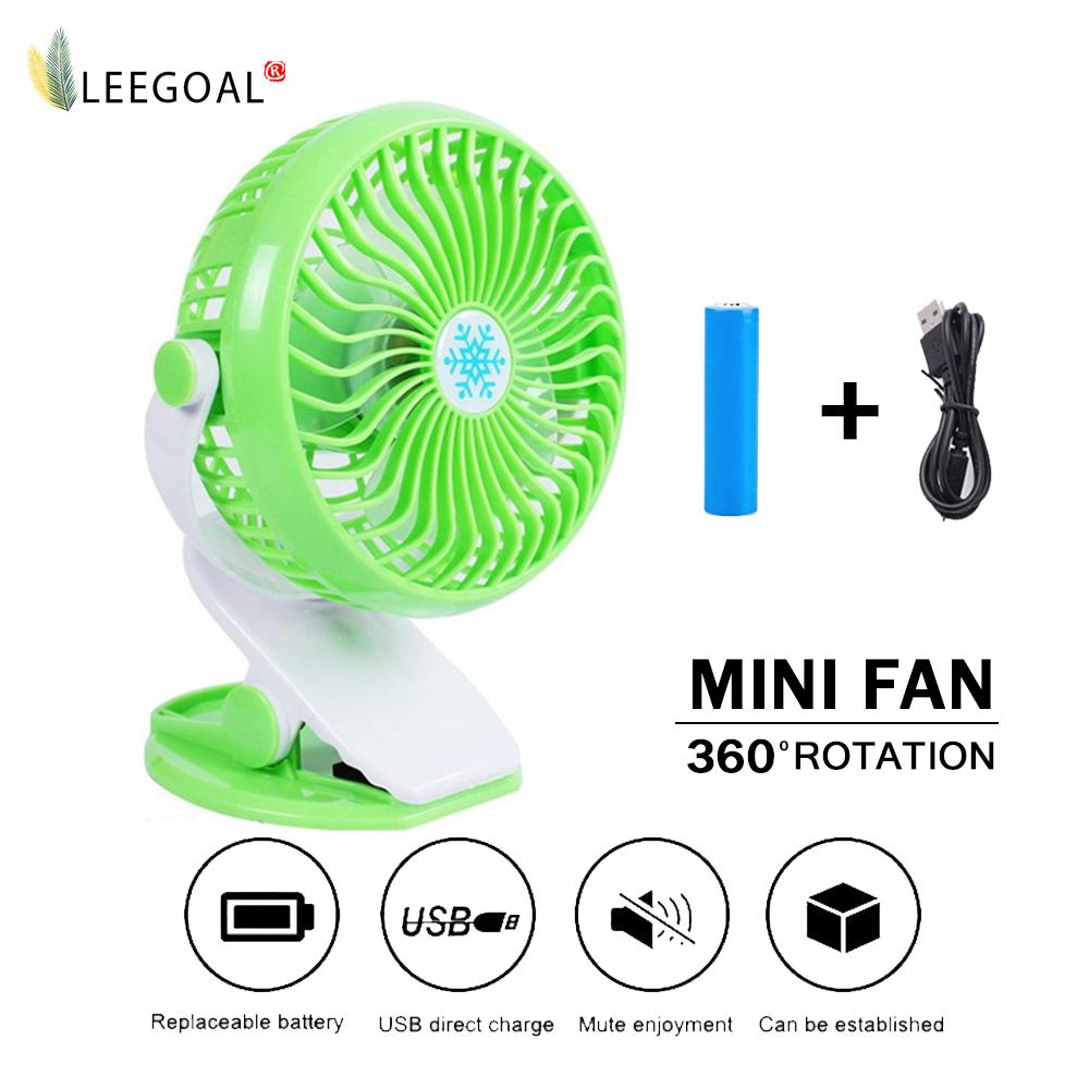 leegoal Batteries Operated Fan, Clip On Fan, Portable Rechargeable Desk Fan For Baby Stroller, Car Gym Home Office Outdoor Traveling And Camping - intl