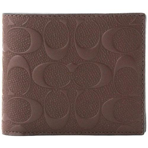 Shop For Coach Men Compact Id Wallet In Signature Crossgrain Leather Men Wallet Mahogany Brown F75371 Gift Receipt