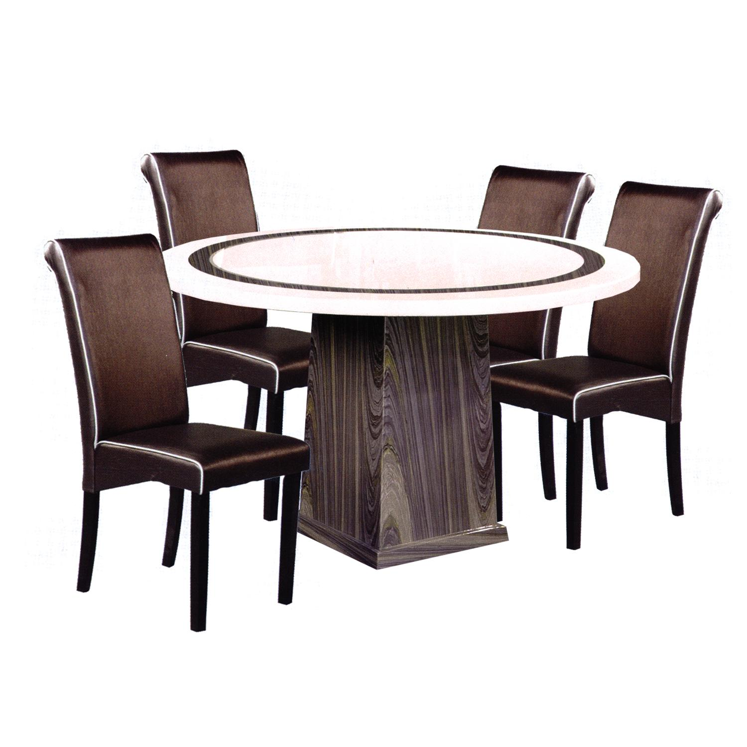 SORA / FLANN Marble Top 1+4 Dining Set