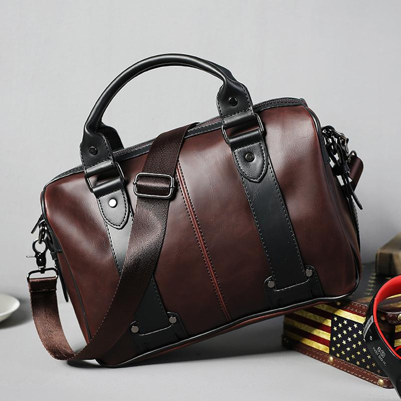 Eso Mens Fashion Business Casual Large Capacity Leather Business Office Handbag Shoulder Bag - Intl By Eso Official Store.
