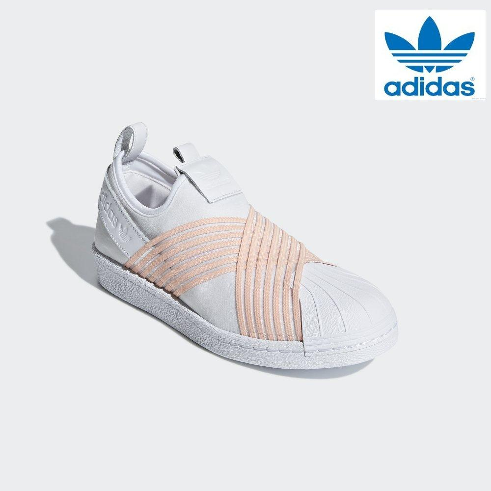 61b53fae4026 Adidas Women Originals Superstar Slip-on Shoes D96704 White Pink 100%  Authentic