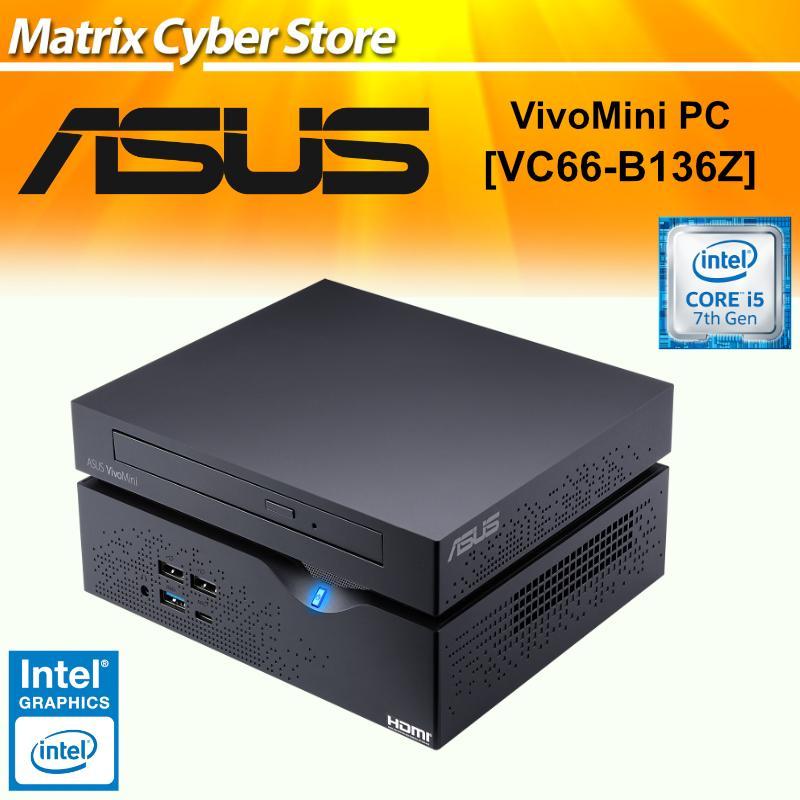 ASUS VC66 - B136Z VivoMini PC with Intel Core i5-7400 and integrated 4K UHD graphics (1TB HDD, DVD-RW, 8GB DDR4, 4K UHD, HDMI, DisplayPort, DVI-D, 802.11ac Wifi, BlueTooth 4.0, USB 3.0, Win 10)