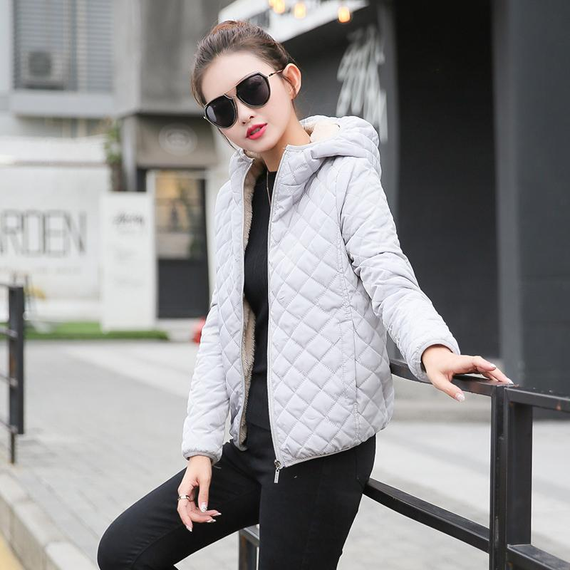 4c1752cee If Finn Winter Cotton-padded Clothes Female Short Thin Small Quilited Jacket  Leisure Brushed And