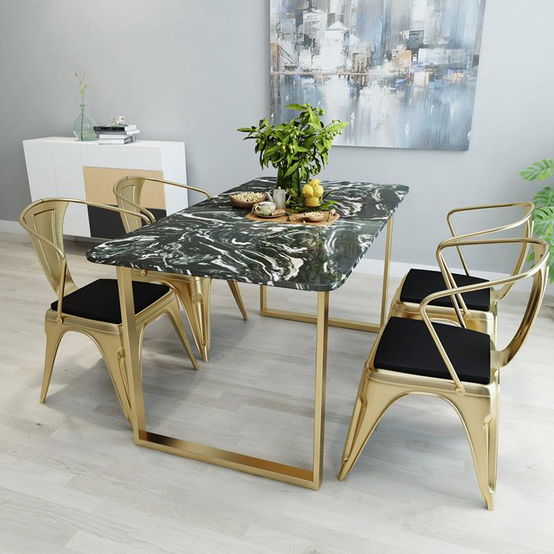 Northern Europe Marble Dining-table Cafe Tea Shop Simple Dining Tables And Chairs Set Small Apartment Home Table Custom-Built