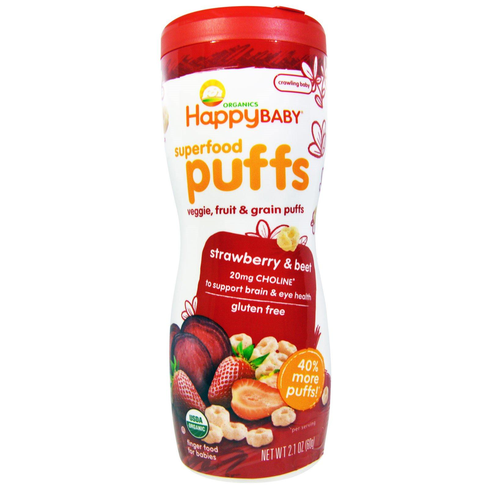 Happy Baby Organic Superfood Puffs Strawberry & Beet By Munckin Organics.