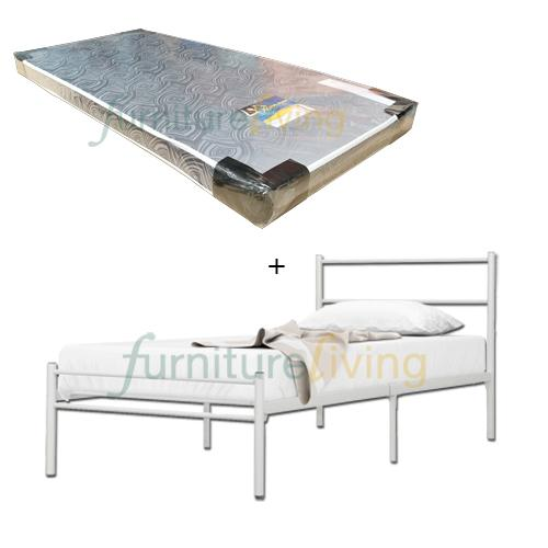 Furniture Living White Metal Bedframe (Single) + Royal Foam Mattress 4inch