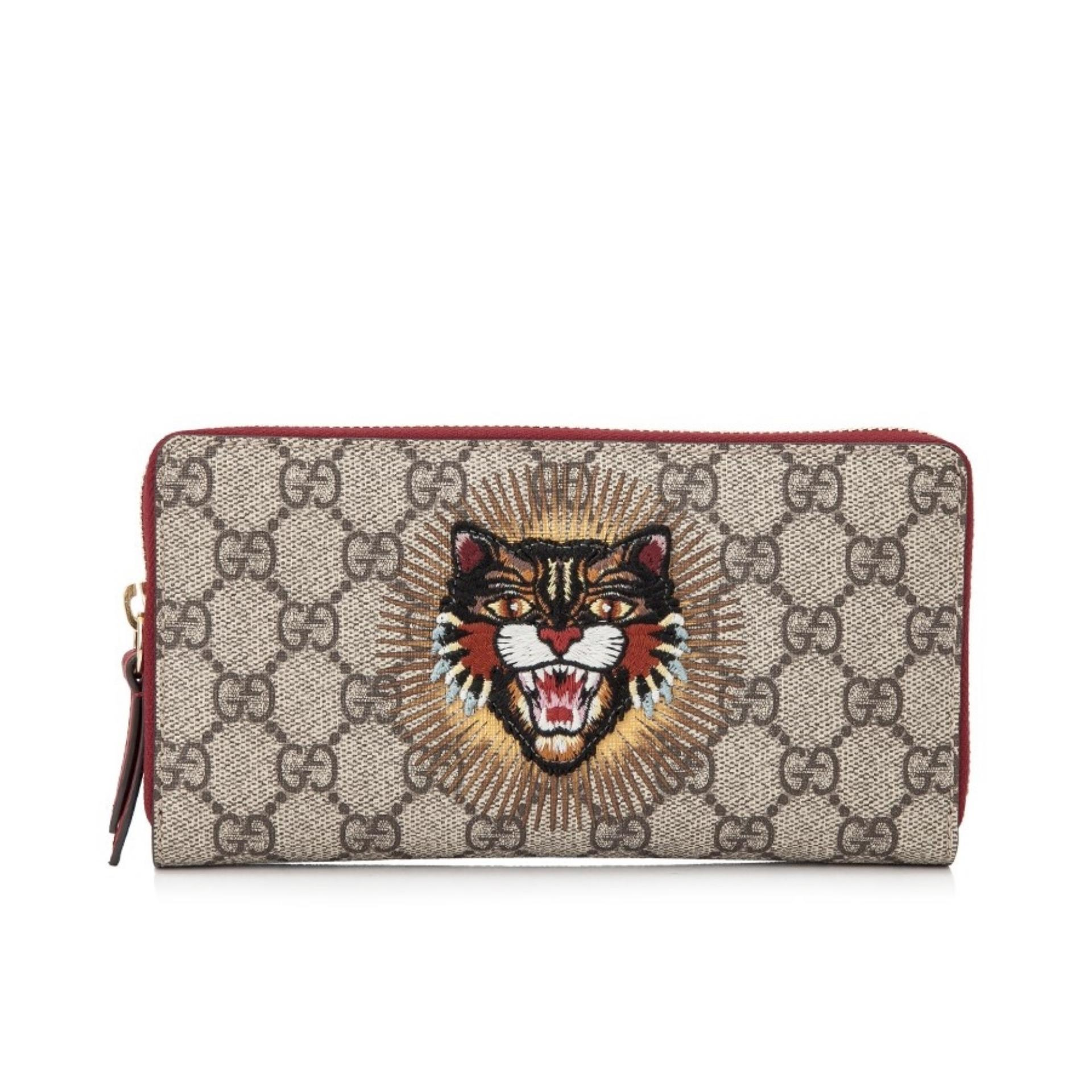 8bcdc03b5b63 Gucci GG Supreme Angry Cat Long Zip Around Wallet (Beige) # 4764139CO1G9794
