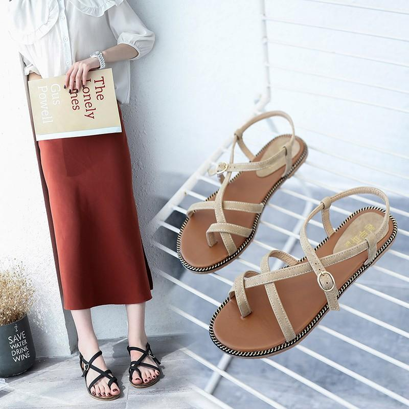 589f185b6d3 Rome Sandals Female Summer 2019 New Style Flat Heel Versatile Students  Korean Style Sandals A-