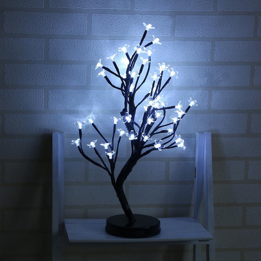 48 LED Potted Plum Blossom Tree Light Battery Box Night Light Home Christmas Wedding Decoration Color:Warm White/ ordinary white