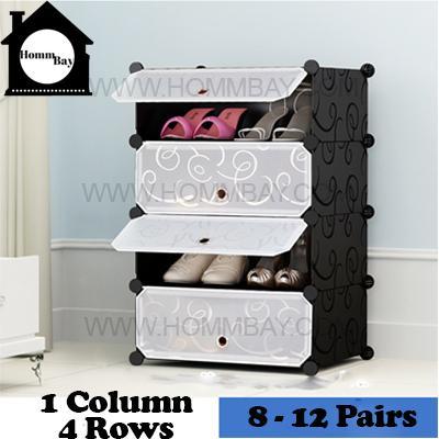 DIY Shoe Shoes Rack Storage Drawers Multi Purpose Modular Organizer Plastic Cabinets I BFTWF Series I 1 Column 4 Rows