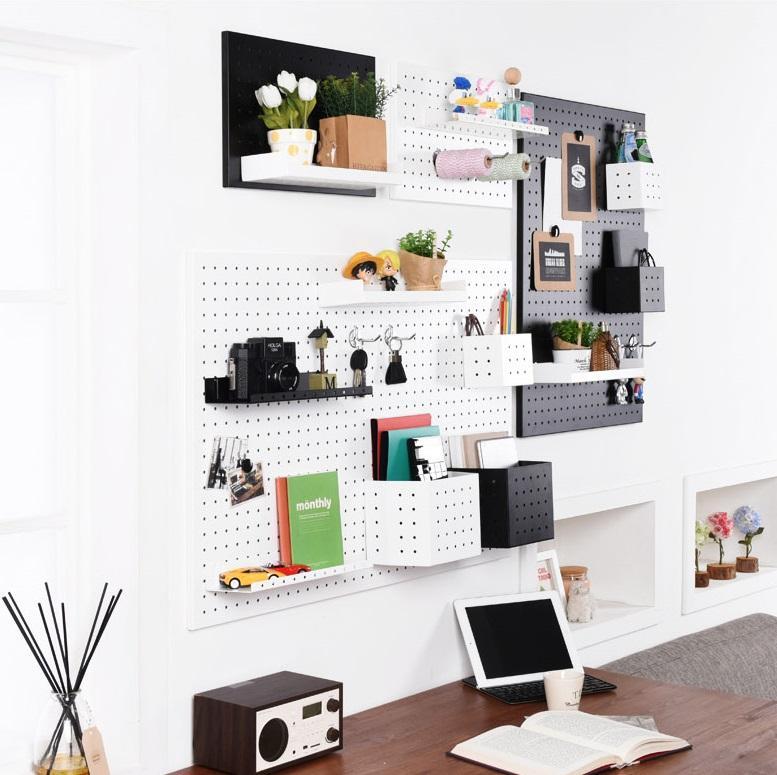 ★Steel Pegboard★ Sticker Wallpaper decoration book shelf shelves organiser kitchen ware rack hanger