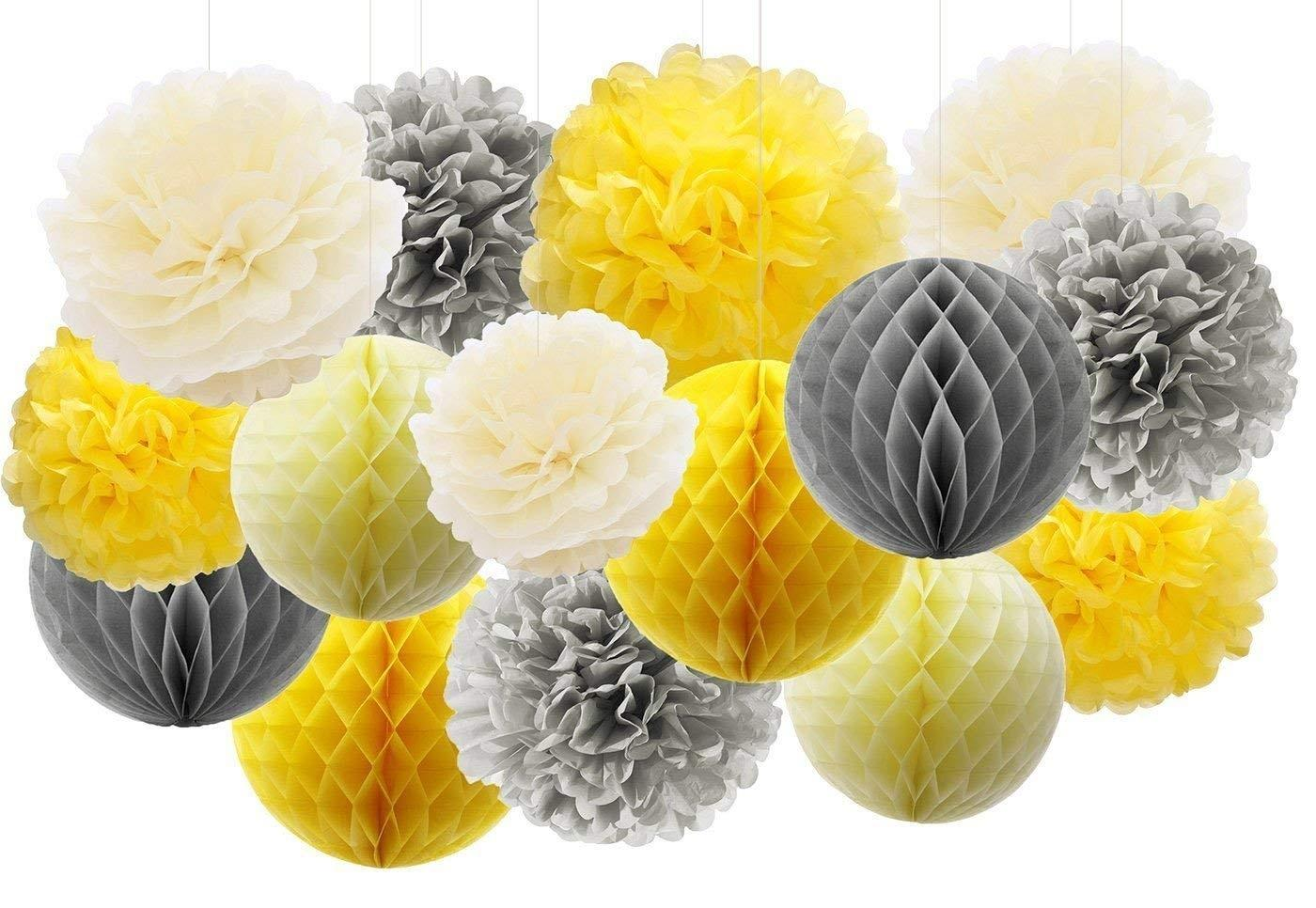 15pcs Yellow Grey Elephant Baby Shower Decorations Tissue Paper Pom Pom Tissue Paper Honeycomb Balls Paper Lanterns for Bridal Shower Birthday Decorations /You Are My Sunshine Party Decor