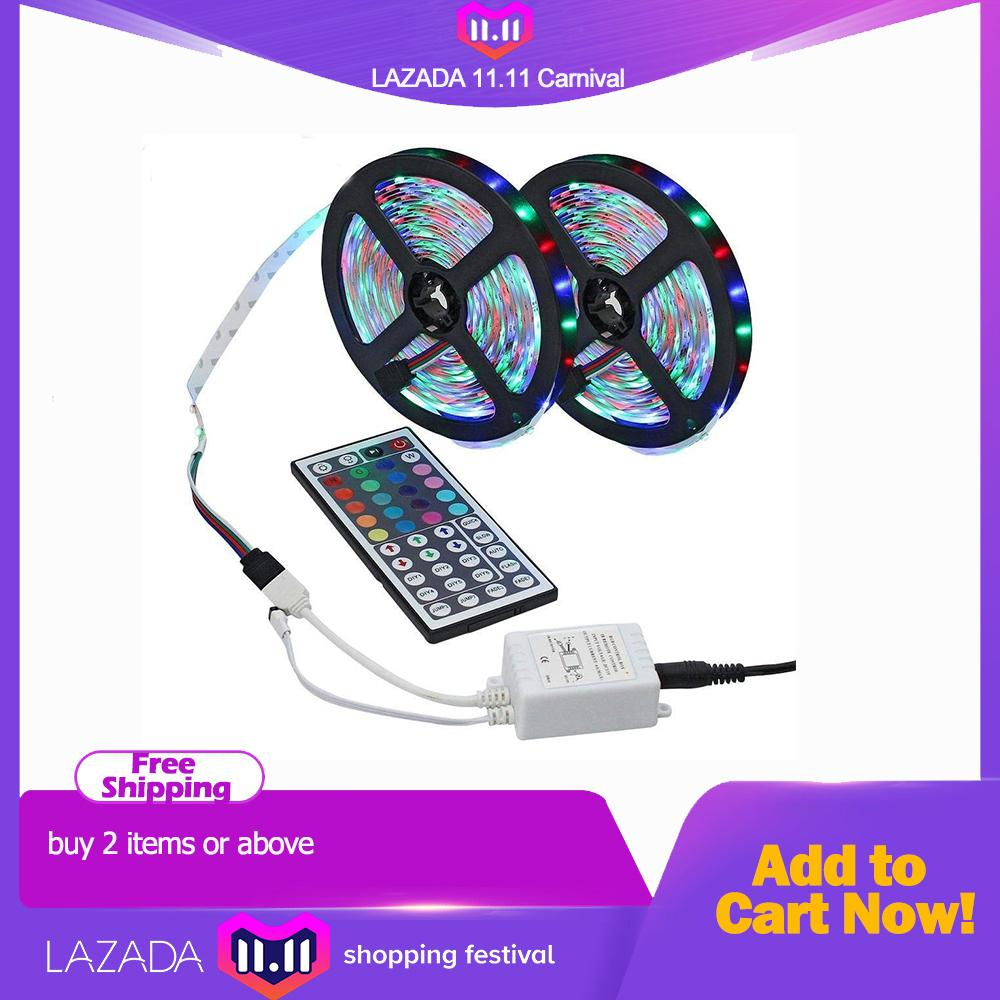 Led Strip, 2 Rolls (10M / 32.8ft) 3528 SMD 600LEDs RGB Color Changing Flexible Led Strip Light Kit + 44key IR Remote Controller