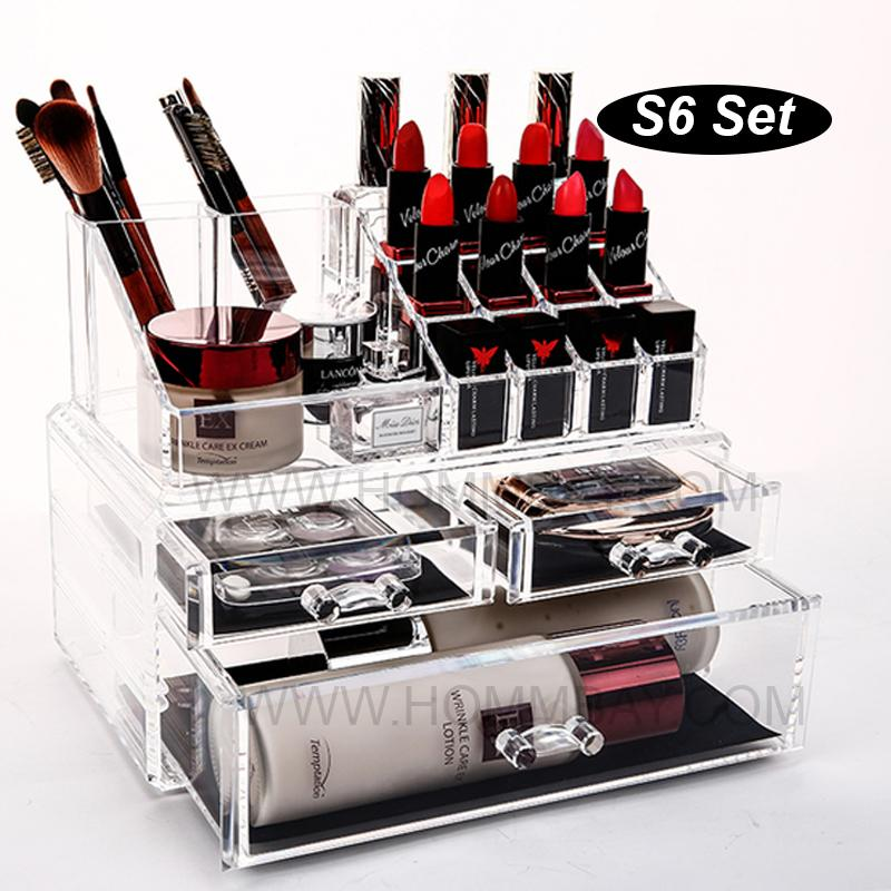 SS6 I Clear Acrylic Transparent Make Up Makeup Cosmetic Jewellery Jewelry Organiser Organizer Drawer Storage Box Holder I Large I Stackable