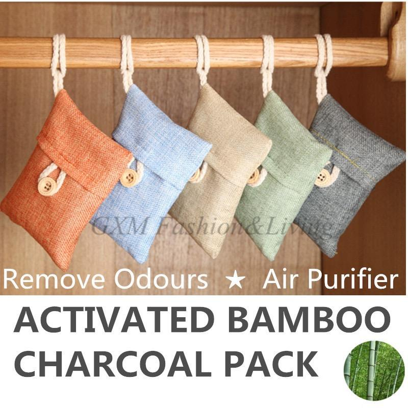 Activated Bamboo Charcoal Bag Remove Odours Air Purifier Air Freshener 100g By Gxm Gadgets.