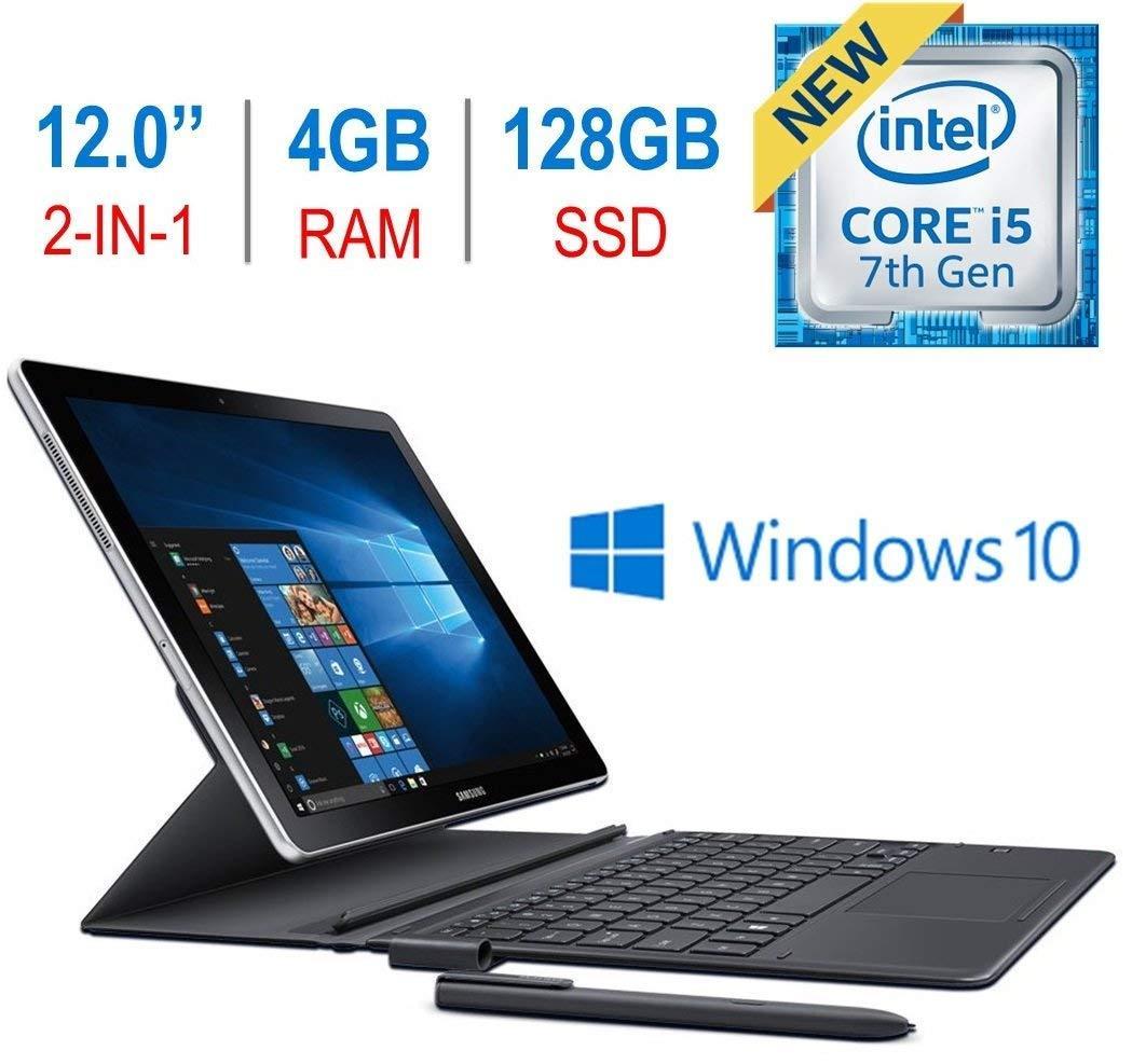 Newest Samsung Galaxy Book 2-in-1 12 Touchscreen Super AMOLED (2160x1440) Display Tablet/PC, 7th Gen Intel i5-7200u 2.5GHz Processor, 4GB RAM, 128GB SSD, Bluetooth, Keyboard, S Pen, Windows 10