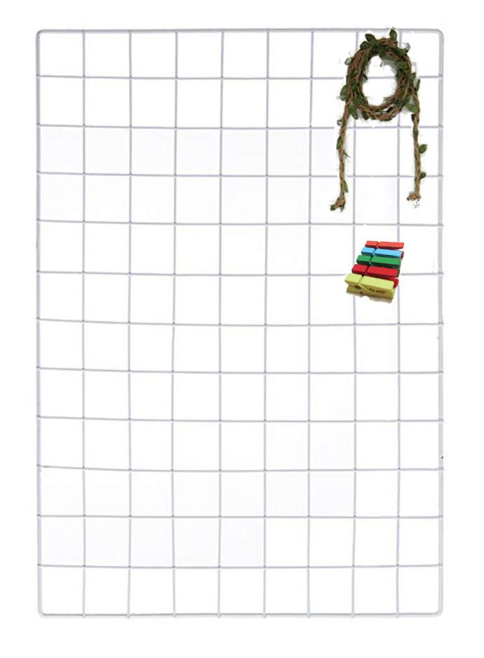 Milky White wire wall grid, photo frame, wall grid, wire memo board, metal grid, notice board, wire net, office organization with free paper clips and twine with leaves