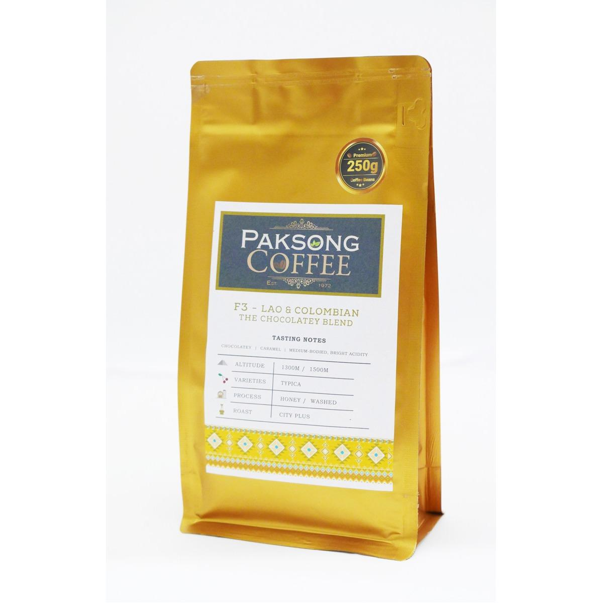 Wholesale Paksong Coffee F3 Lao Colombian The Chocolatey Blend 250G Coffee Beans