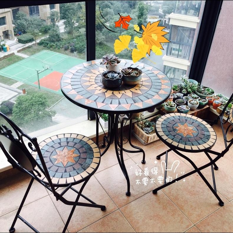balcony iron 1 table and 2 chairOutdoor cast aluminum furniture indoor garden wrought iron