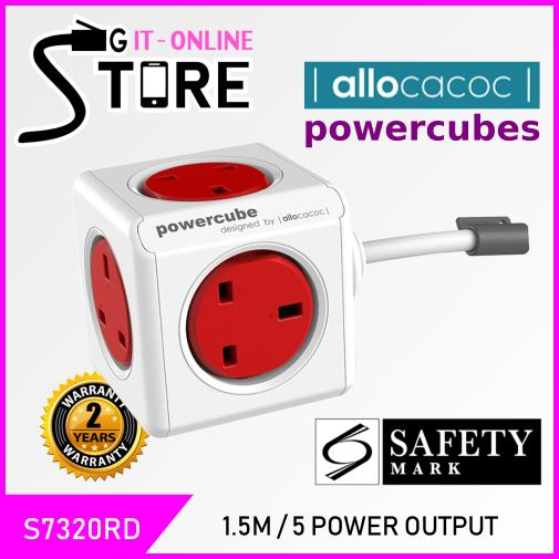 Allocacoc PowerCube 1.5m Cable 5 Output w/ Surge Protect UK Plug (RED)