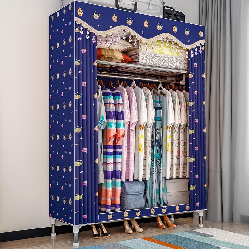 Simple Wardrobe Fabric Steel Frame Rough Reinforced Cloth Wardrobe Minimalist Modern Economy Assembly Closet Storage Cabinet