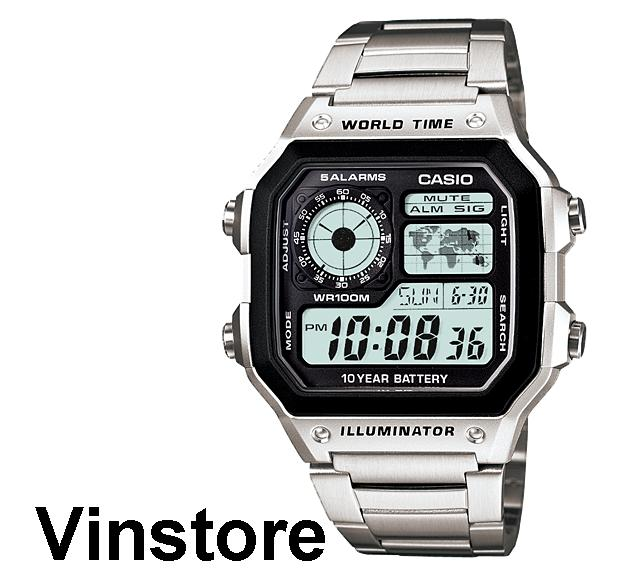 [with Box] Casio Silver Digital Watch Ae-1200whd-1avdf Ae-1200whd-1av Ae-1200whd-1a Silver Strap Black Dial Watch Ae1200whd-1a By Vinstore.