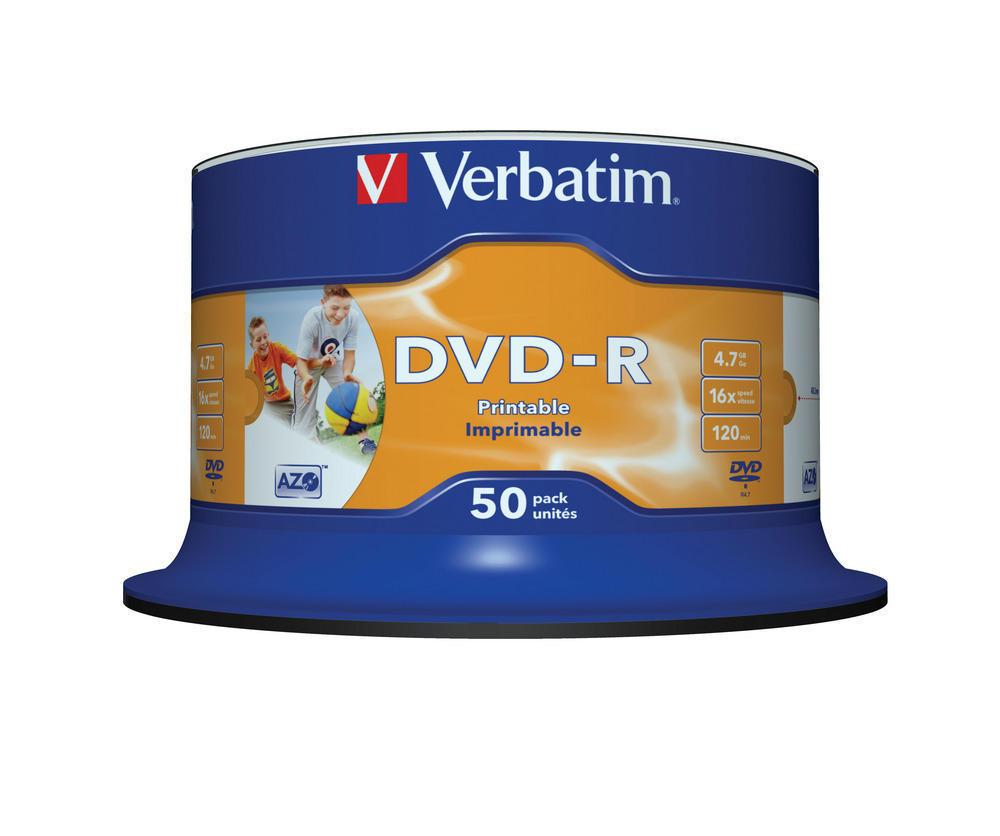 Verbatim DVD-R AZO 50pcs per cake box 4.7gb 16x 120min Printable White Surface