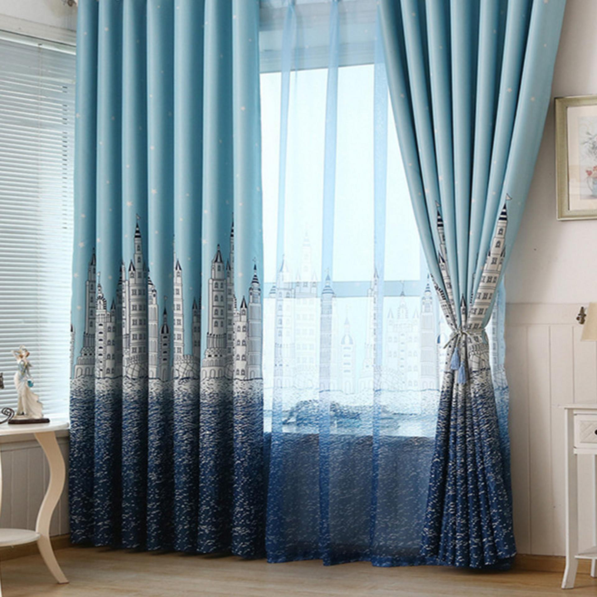 [OrangeHome] British Country Living Room Bedroom Balcony Panel Divider Curtains Drape Sky Blue 140*270 (hook free) (1 pcs) - intl